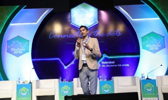 BioAsia 2016 Mr. Jay Krishnan CEO T-Hub addressing at BioAsia 2016 Startup showcase