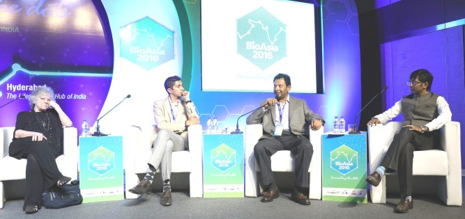 BioAsia 2016 Startup Showcase panelists - LtoR- Ms Ada Yonath, Mr. Jay Krishnan, Mr. Suresh Challa and Mr. Shakthi Nagappan