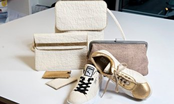 Goods made from leather-alternative Pinatex. Product prototypes: shoe by Camper (gold details), shoe by Puma, brown clutch bag by Ally Capellino, ywo iPhone covers by Carmen Hijosa, Backpack+ iPad cover by Smithmattias. Photograph: Linda Nylind for the Guardian