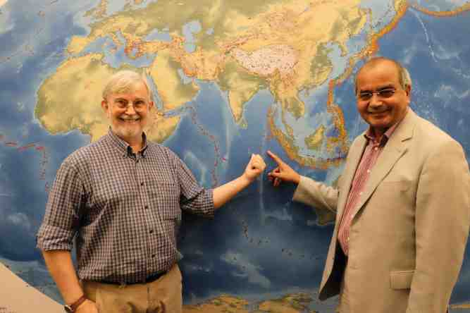 NTU Prof Paul Tapponnier (left) and Visiting Prof Satish Singh pointing ...